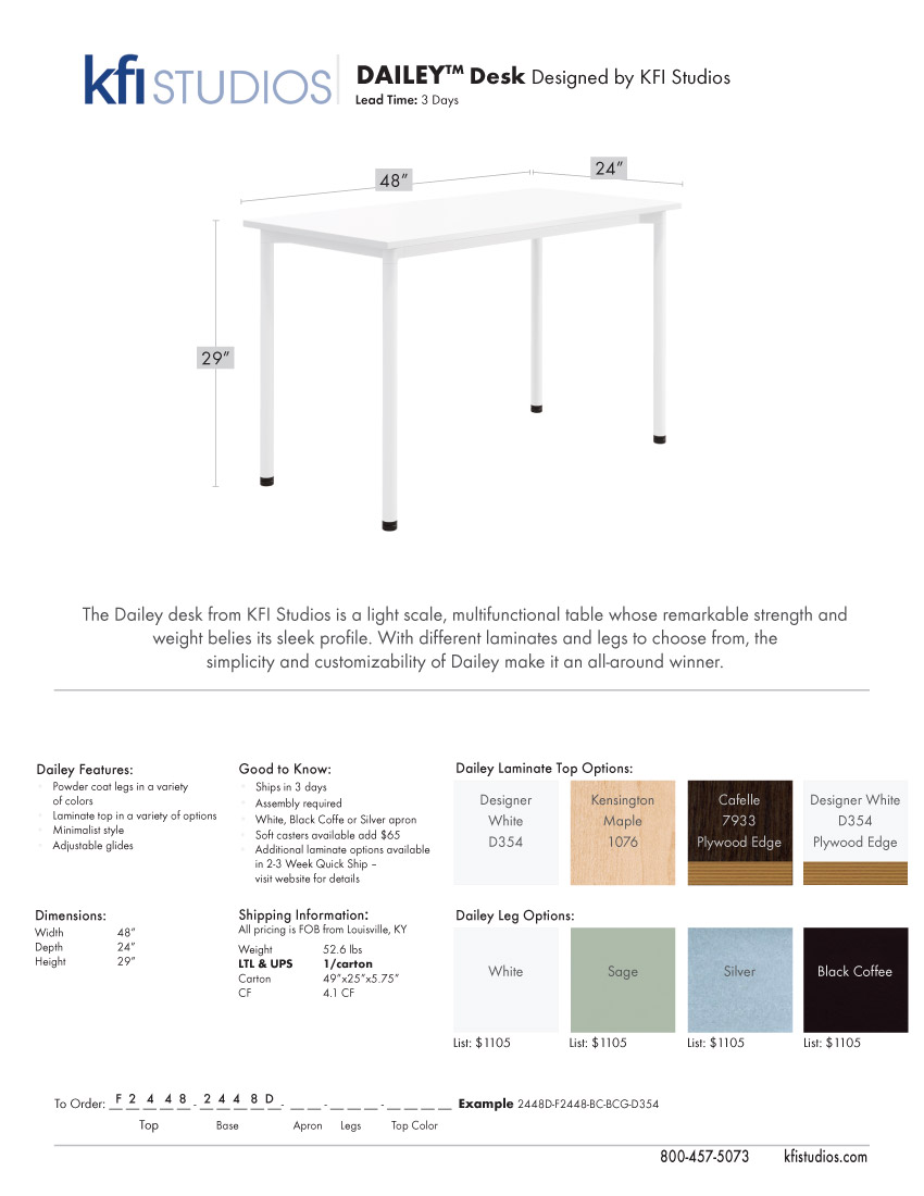 Dailey Desk<br />Product Sheet Brochure