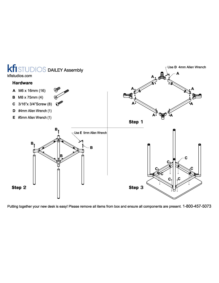 Dailey Table<br />Assembly Brochure