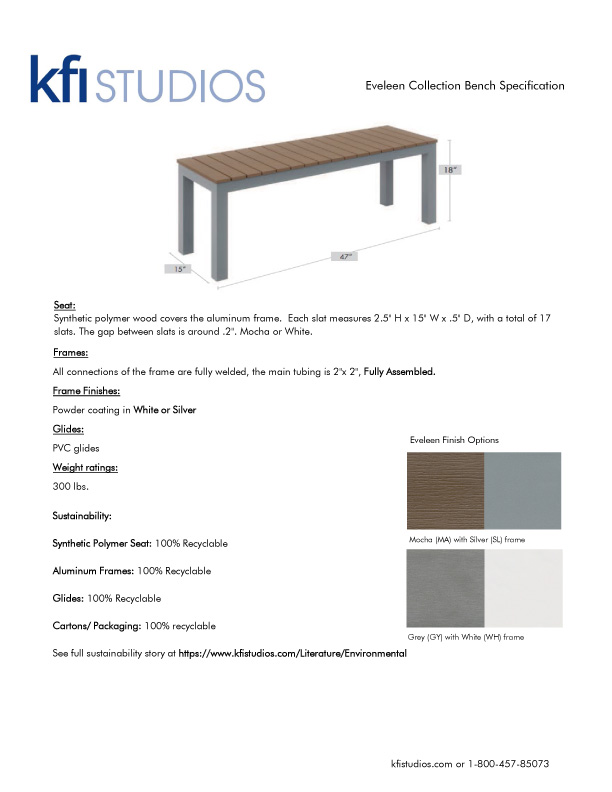 Eveleen Bench<br />Product Sheet Brochure