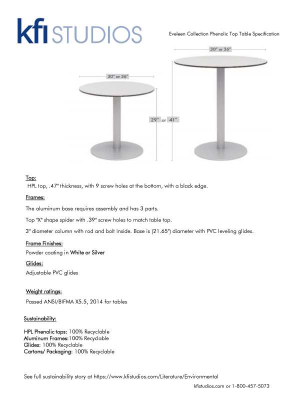 Eveleen Phenolic Table<br />Product Sheet Brochure