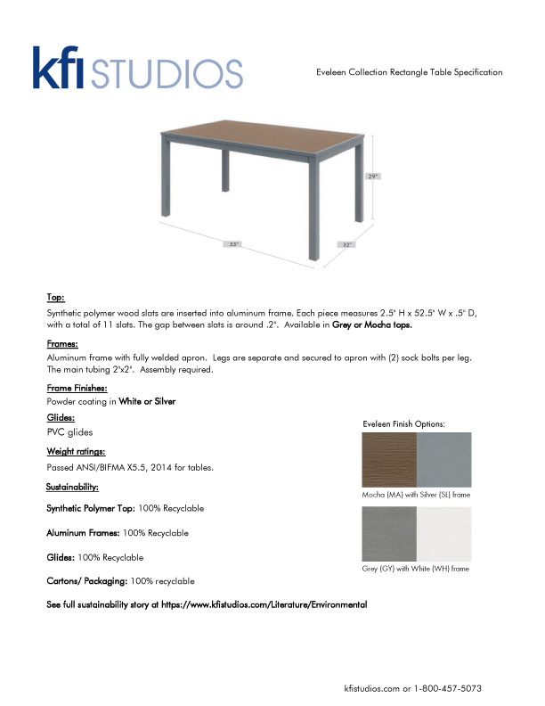 Eveleen Picnic Table<br />Product Sheet Brochure