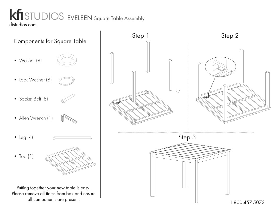 Eveleen Square<br />Table Assembly Brochure