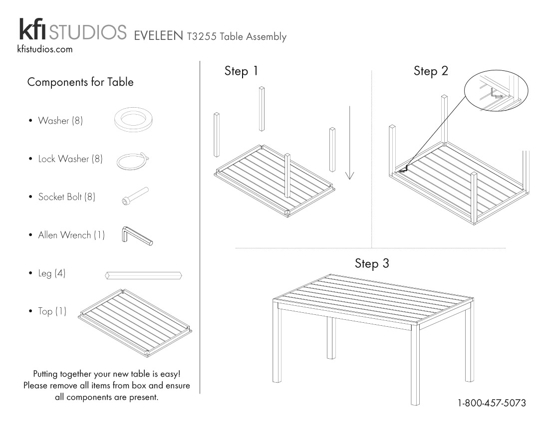 Eveleen T3255<br />Table Assembly Brochure