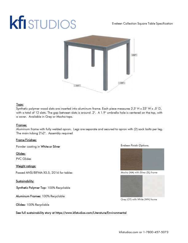 Eveleen Umbrella Table<br />Product Sheet Brochure