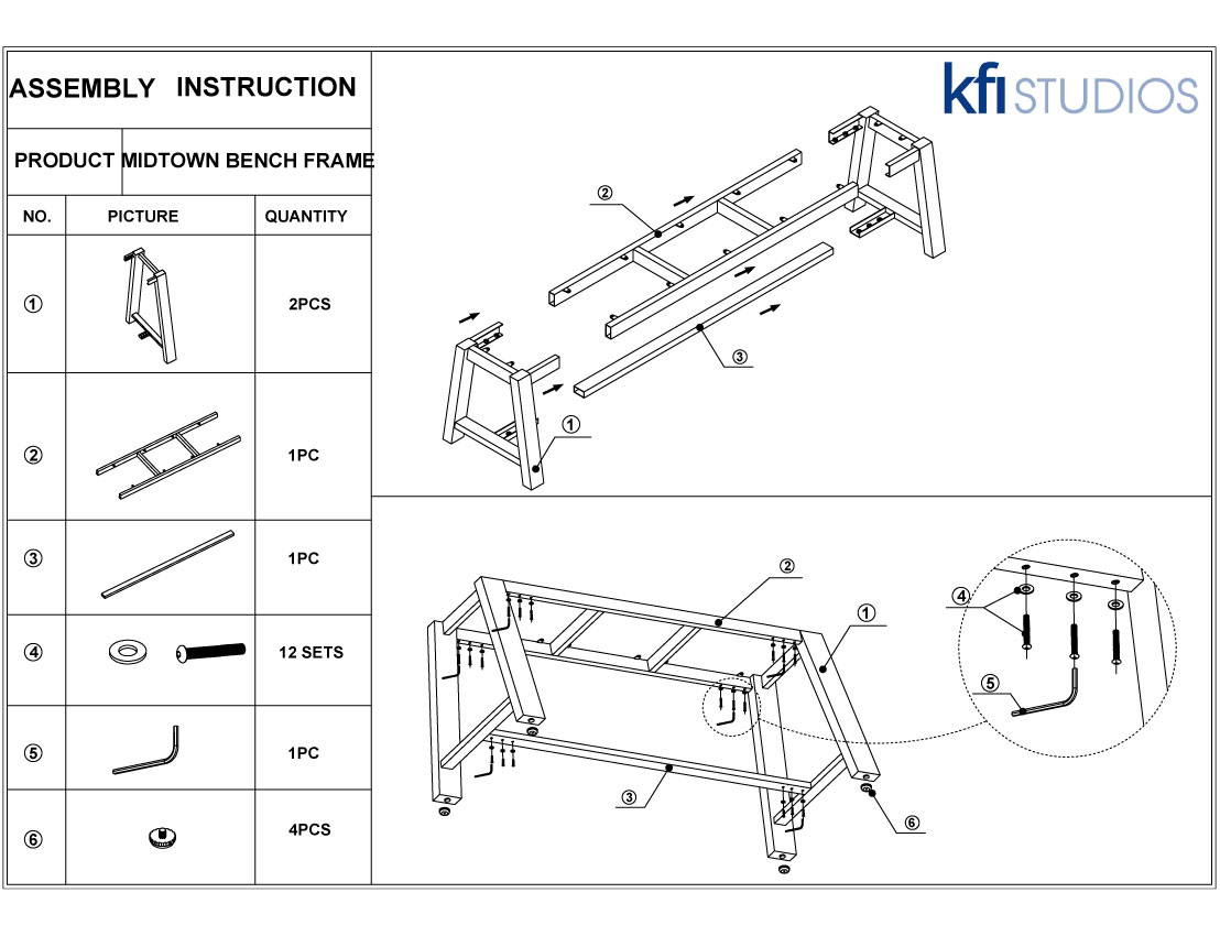 Midtown Bench<br />Assembly Brochure