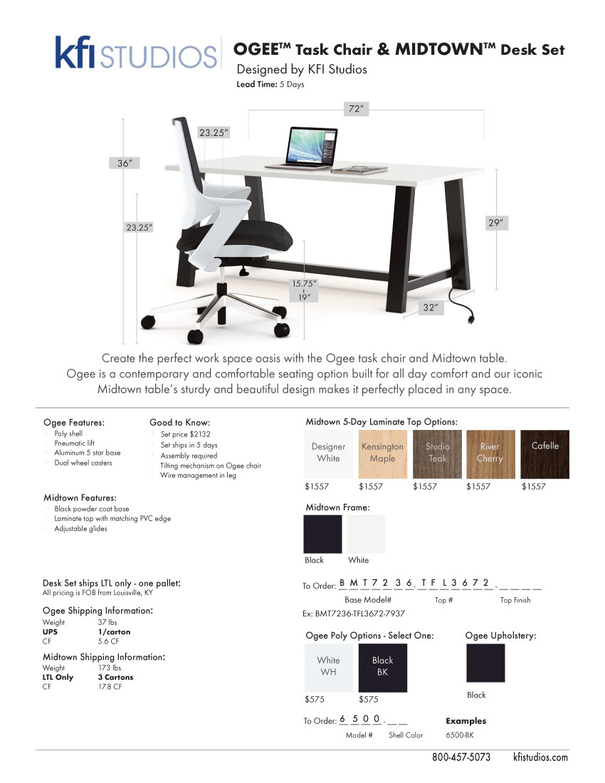 Midtown Ogee<br />Product Sheet Brochure