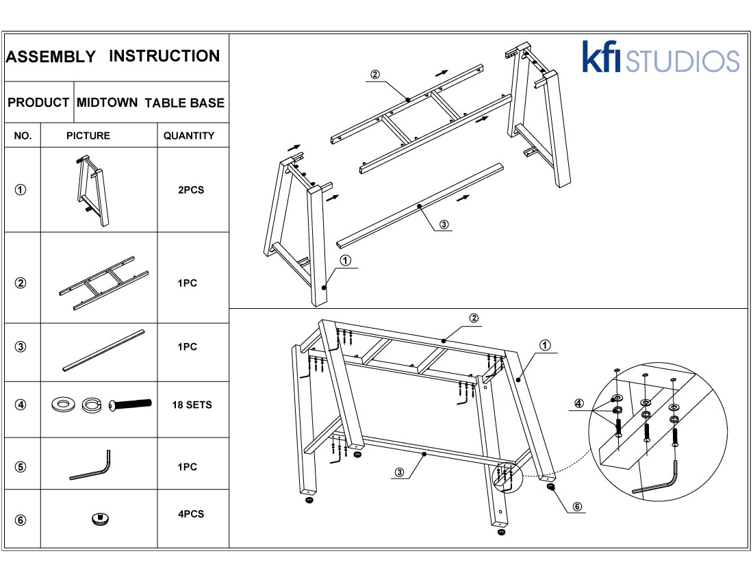 Midtown Table<br />Base Assembly Brochure