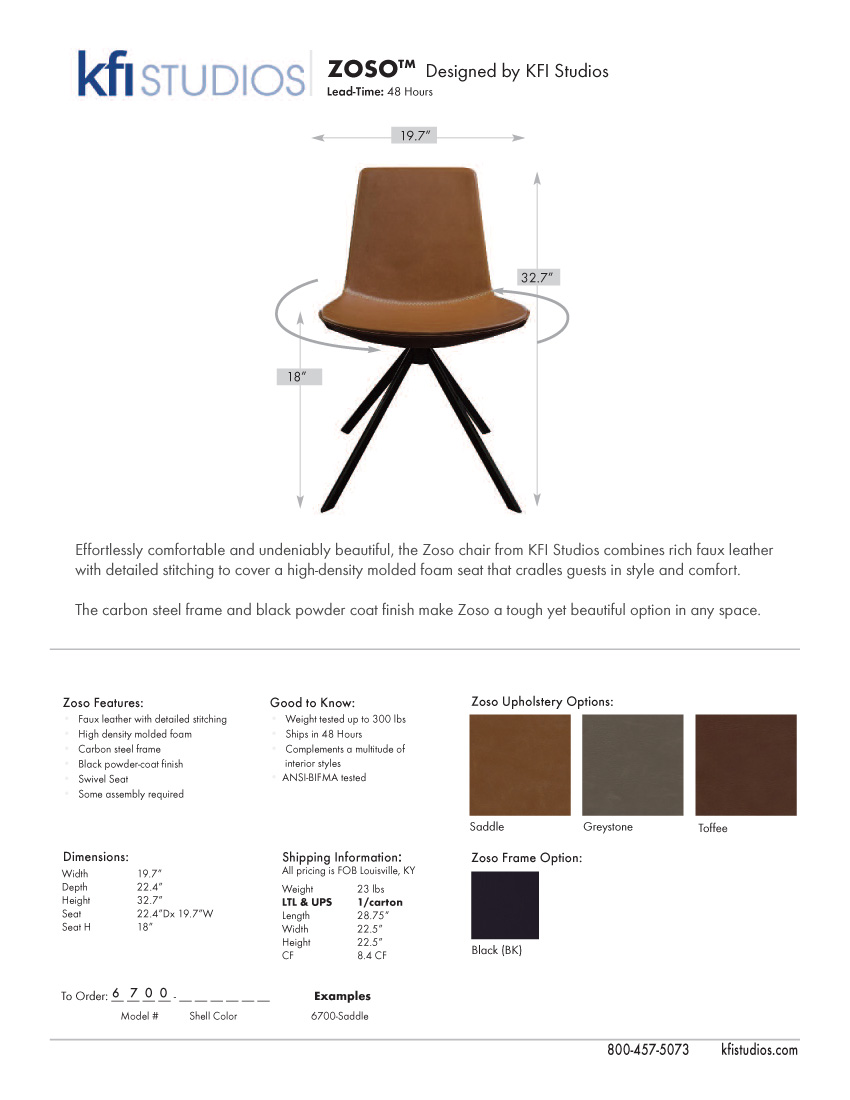 Zoso<br /> Product Sheet Brochure